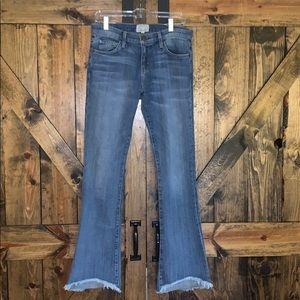Current / Elliot flare jeans distressed bottoms!